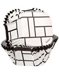 image: Square standard cupcake papers Black & White Modern Blocks