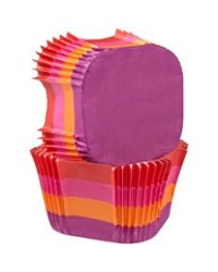 image: Square standard cupcake papers Warm colour stripes