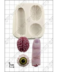 image: Zombie snacks silicone mould (eyeball, finger & brain)