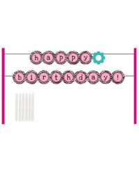 image: Cake banner kit Pink Zebra Happy Birthday bunting with candles
