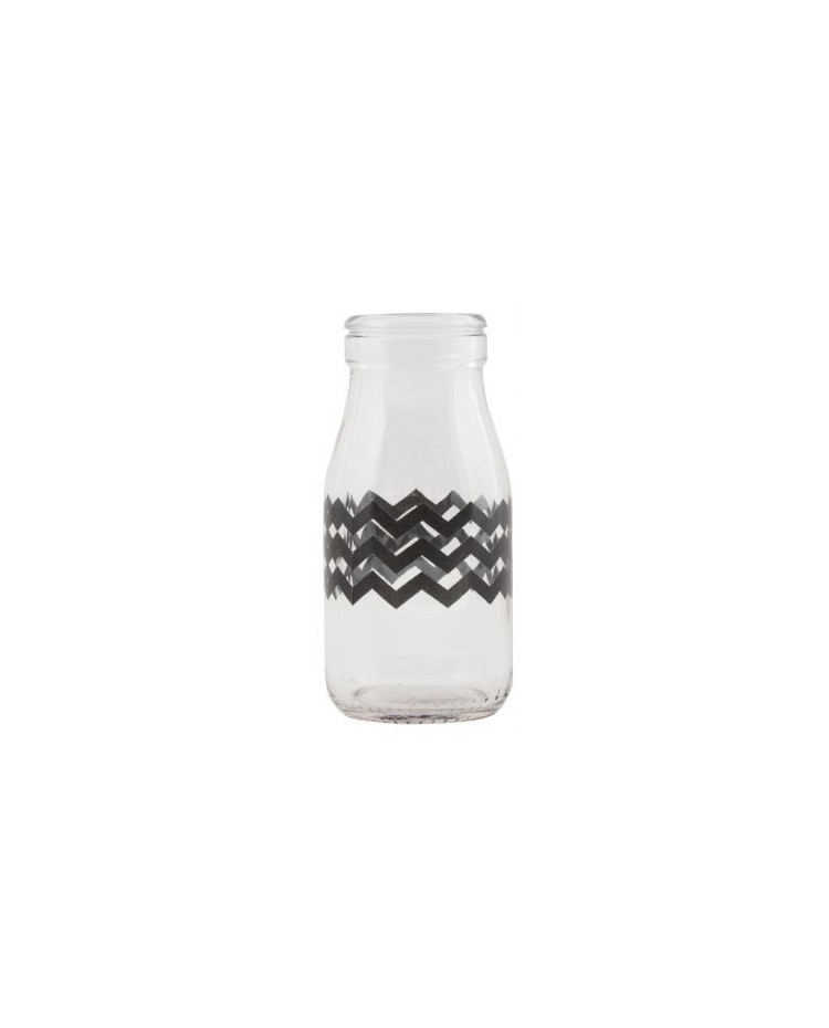 image: Glass milk bottle Black zig zag Chevron