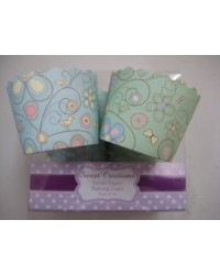 image: Little birds twin pack straight sided cupcake papers baking cups