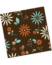 image: Chocolate transfer sheet Vintage flowers teal