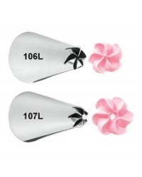 image: Left handed drop flower petal icing nozzle tip set