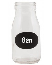 image: Glass milk bottle Black board label (write own name)
