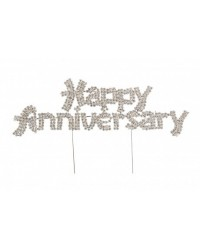 image: Happy anniversary diamante cake topper