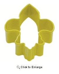 image: Mini fleur de lis yellow metal cookie cutter