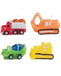 image: Construction vehicles 4-pce candle set