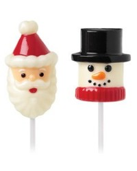 image: 3d snowman & Santa lollipop chocolate mould Dipping marshmallows