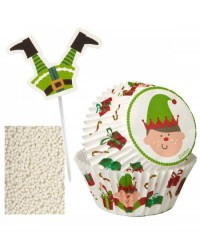 image: Christmas Elf cupcake decoration kit