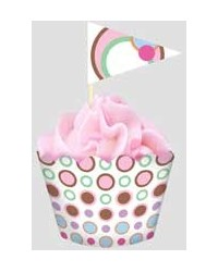 image: Mod Dots straight sided cupcake papers & picks
