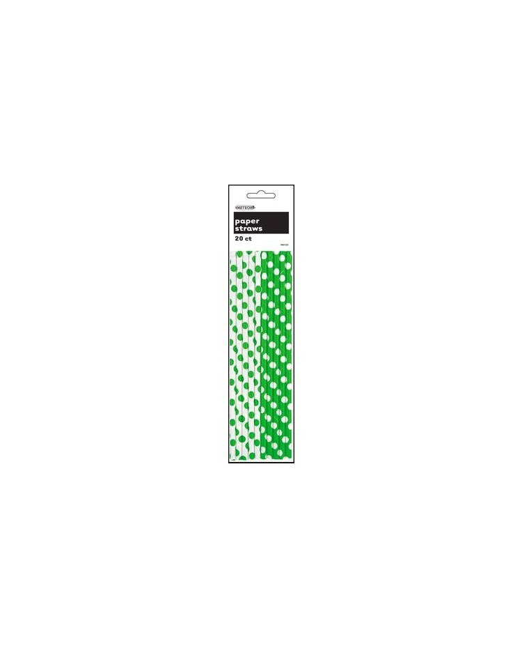 image: 2 colourway Green & White polka dot retro paper straws