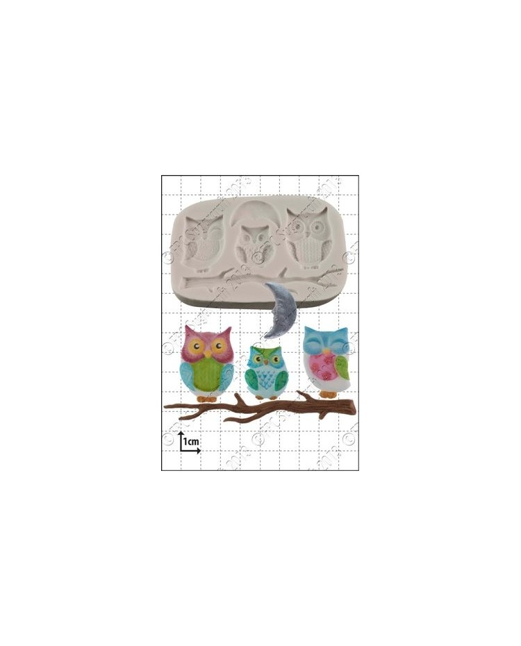 image: Owl family silicone mould
