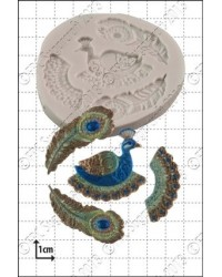 image: Filigree Peacock & feathers silicone mould