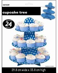 image: Royal blue & White Polka Dot cupcake stand