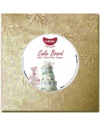 "image: Cake drum light board 12mm thick 11"" gold square"