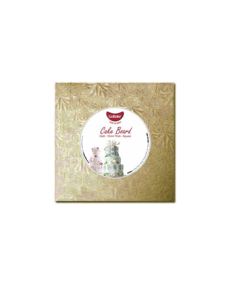 """image: Cake drum light board 12mm thick 16"""" gold square"""