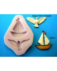 image: Nautical Seagull & Sailboat yacht silicone mould