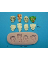 image: Demons & Skulls scary faces silicone mould