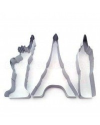 image: Big cities cookie cutter set Big Ben Statue Liberty Eiffel Tower