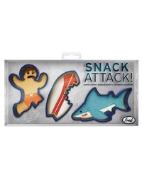 image: Snack attack cookie cutter set Surfboard, Surfer & Shark