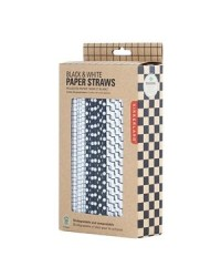 image: Black & white retro paper party straws (144) use cake pop sticks
