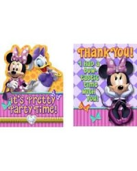image: Minnie Mouse dream party invites & matching thank you cards