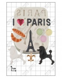 image: I love Paris silicone mould with poodle & Eiffel tower