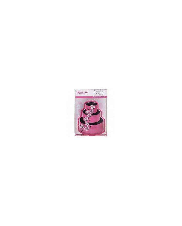 image: Wedding cake roses cake cookie cutter and stamp set