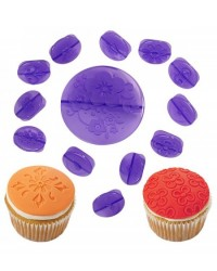 image: Wilton 14-Pc. Flowers Fondant Cupcake Decorating Set (press set)