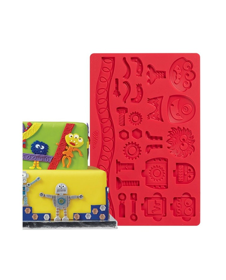 image: Robots & Monsters Nuts & Bolts & Cogs gumpaste silicone mould