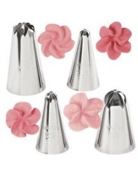 image: Wilton 4-Pc. Drop Flowers Tip or piping nozzle set