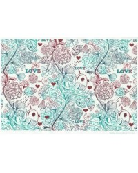 image: Wafer paper sheet Love birds floral scrolls