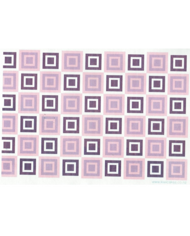 image: Wafer paper sheet Retro purple squares