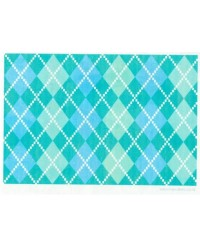 image: Wafer paper sheet Blue & Green Argyle