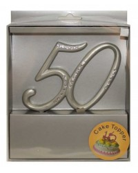 image: 50th cake topper silver with diamante accent