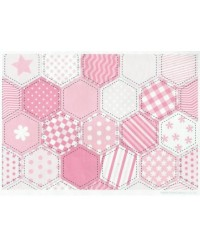 image: Wafer paper sheet Pink patchwork quilt