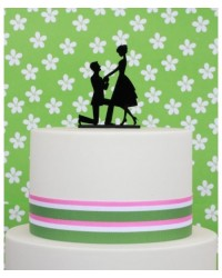 image: The Proposal Black acrylic silhouette cake topper