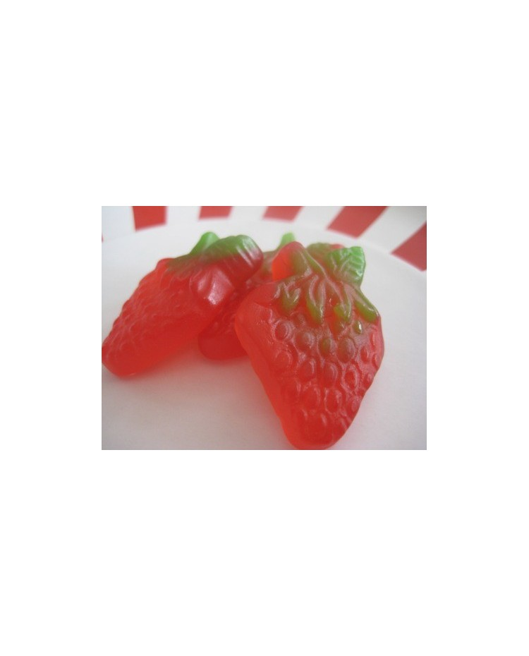 image: Sour Strawberries 200g gummy strawberry candy lollies