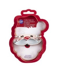 image: Santa face & Moustache or Mustache 2 piece cookie cutter set
