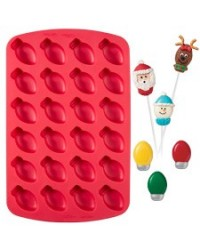 image: 24-Cavity Christmas Light Bulb Silicone Bite Sized Treat Mould