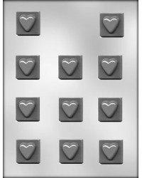 """image: Hearts on 1 1/4"""" square chocolate mould"""