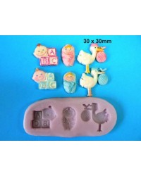 image: Baby Blocks & Stork silicone mould
