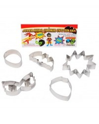 image: Super hero set 5 cookie cutters including speech bubble mask &