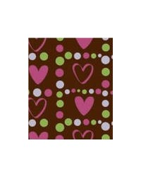image: Chocolate transfer sheet Pink hearts with lime green border