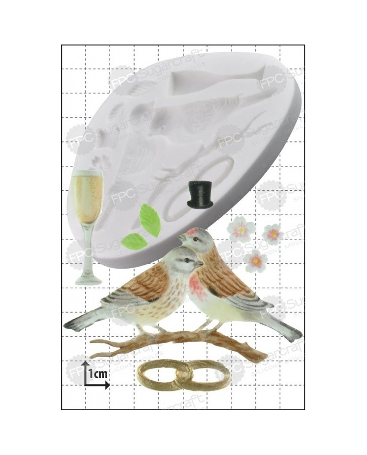 image: Wedding lovebirds silicone mould