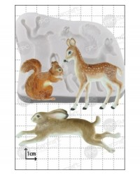 image: Woodland animals silicone mould (squirrel, deer, hare or rabbit)
