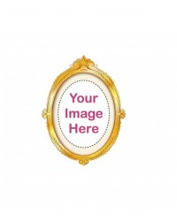 image: Custom edible icing image OVAL gold frame