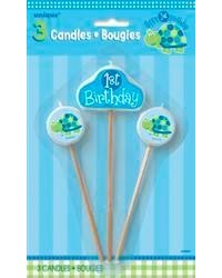 image: 1st Birthday turtle candle pick set