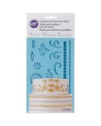 image: Damask gumpaste and fondant silicone mould & pearl bead border